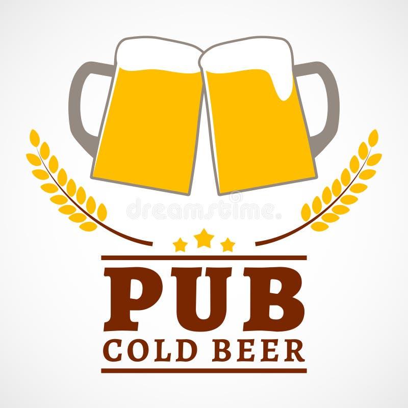 Cartel del pub de la cerveza stock de ilustración