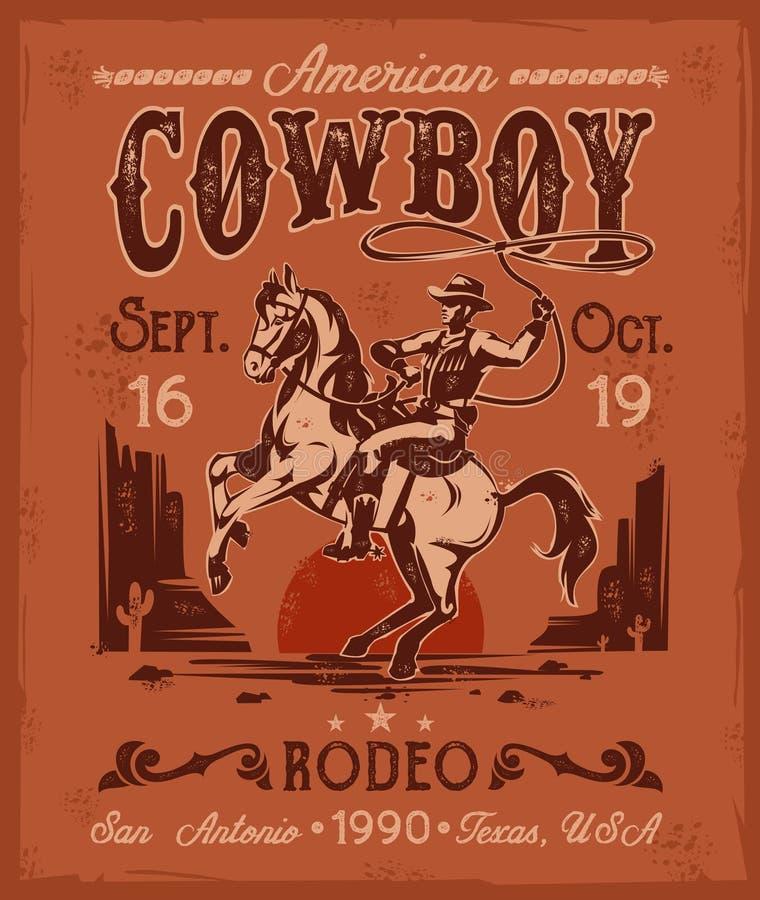 Cartel del rodeo con un vaquero que se sienta en alzar el caballo en estilo retro stock de ilustración