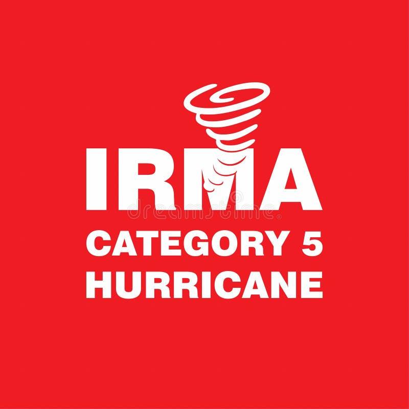 Cartel del rojo del huracán de Irma Category 5 Indicación del huracán Grap libre illustration
