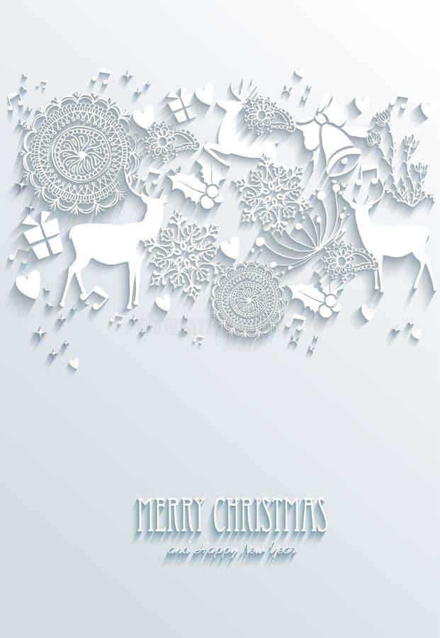 Cartel del saludo de la Feliz Navidad blanca y de la Feliz Año Nuevo stock de ilustración