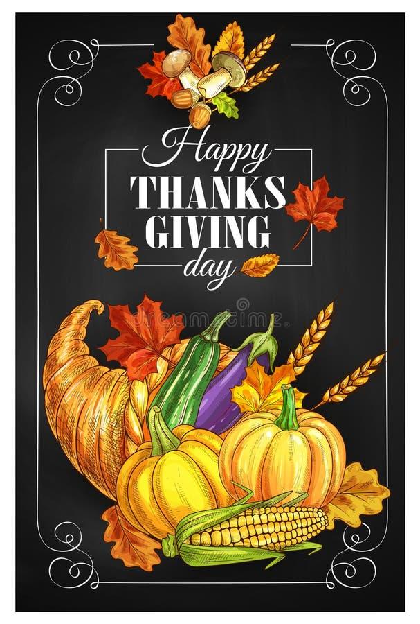 Cartel del saludo del día de fiesta del día de la acción de gracias libre illustration