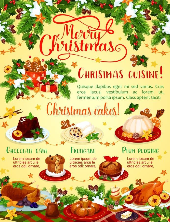 Cartel del saludo del vector de la cena de la Feliz Navidad ilustración del vector