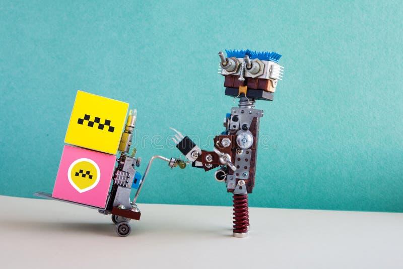 Cartel del servicio de entrega de la automatización del taxi del cargo Vehículo móvil del equipaje del conductor robótico Etiquet imágenes de archivo libres de regalías