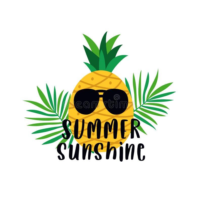 Cartel del texto de la tipografía de la sol del verano con los vidrios de sol de la piña y el ejemplo del vector del fondo de la  ilustración del vector