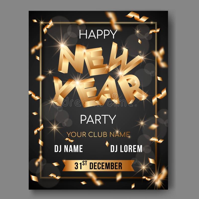 Cartel del texto del vector 3d del Año Nuevo en fondo negro con las letras de oro 3D ilustración del vector