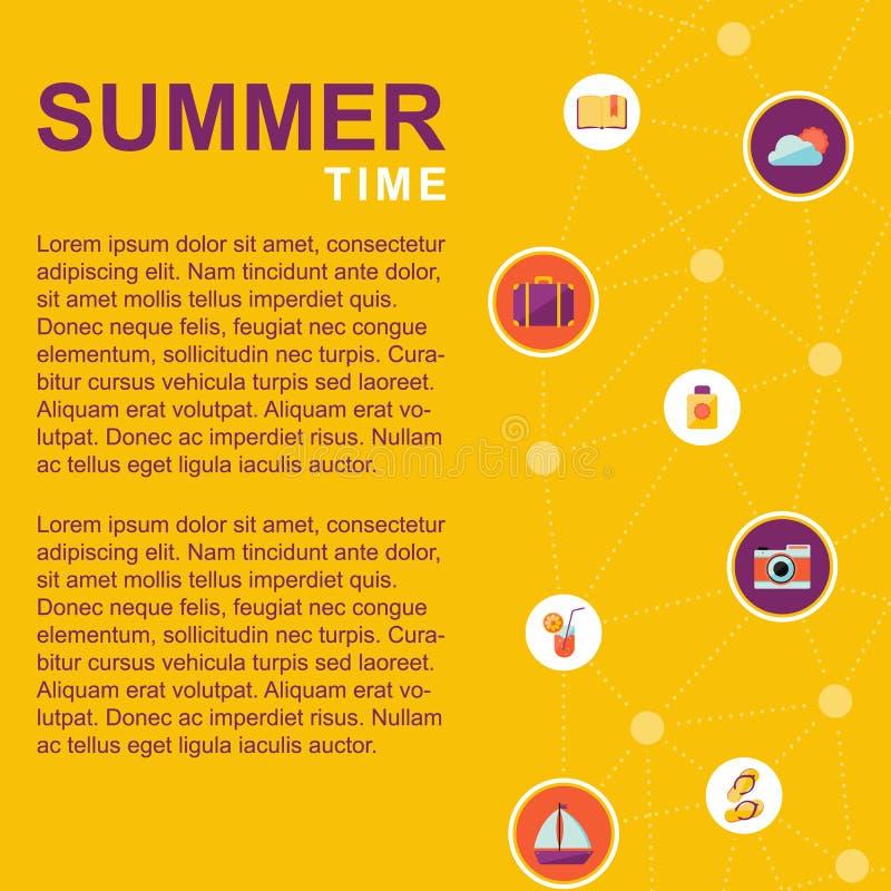 Cartel del tiempo de verano con los elementos del verano libre illustration