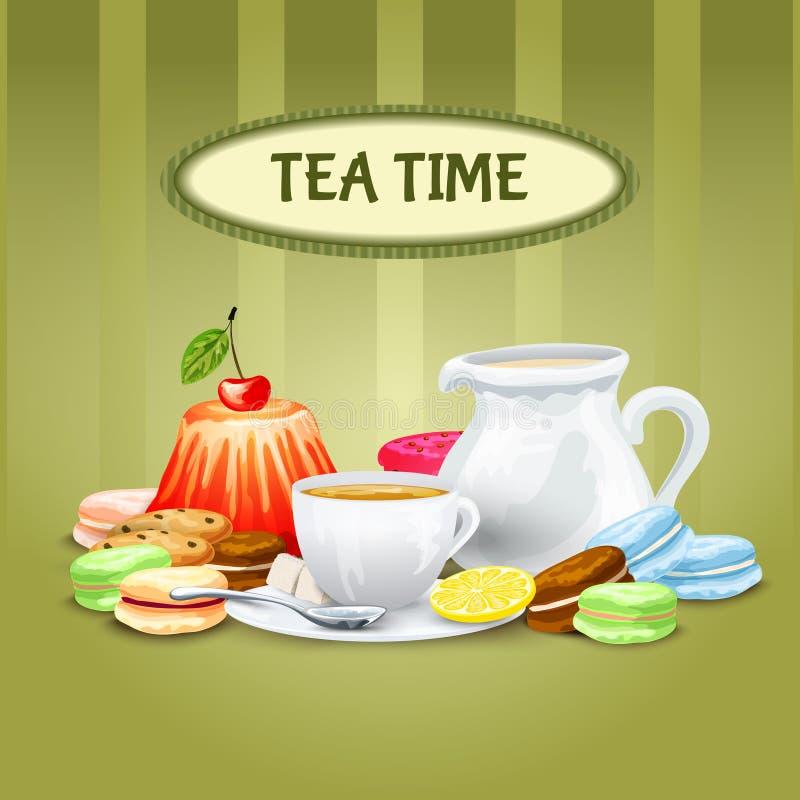 Cartel del tiempo del té ilustración del vector