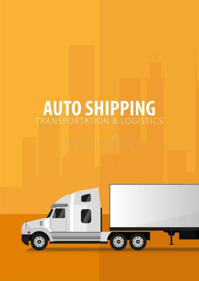 Cartel del transporte por camión, logístico y entrega Semi carro Ilustración del vector libre illustration