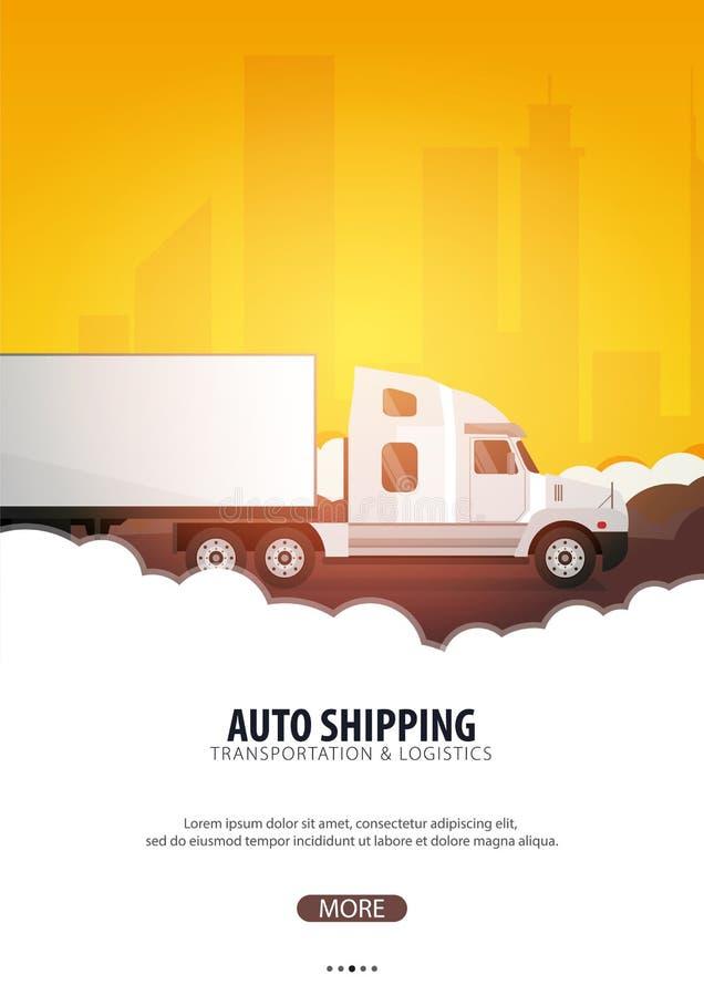 Cartel del transporte por camión, logístico y entrega Semi carro Ilustración del vector stock de ilustración