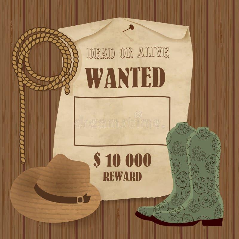 Cartel del vaquero Fondo del oeste salvaje para su diseño Vaquero Elements Set libre illustration