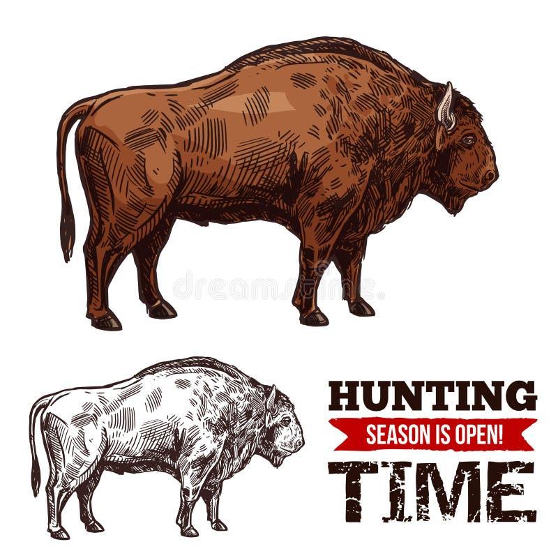 Cartel del vector del bosquejo del tiempo de la caza con el búfalo stock de ilustración
