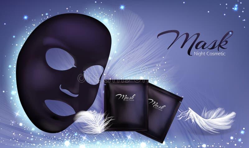Cartel del vector con la máscara cosmética facial negra libre illustration