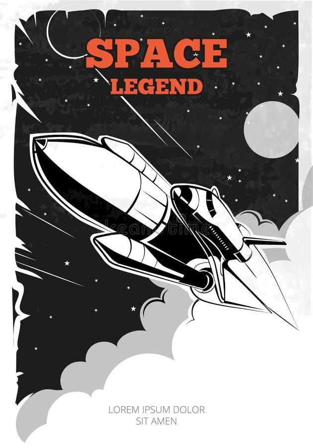 Cartel del vector de espacio del vintage con la lanzadera ilustración del vector