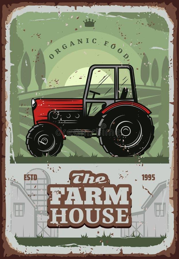 Cartel del vector de la casa de la granja con el tractor del granjero ilustración del vector