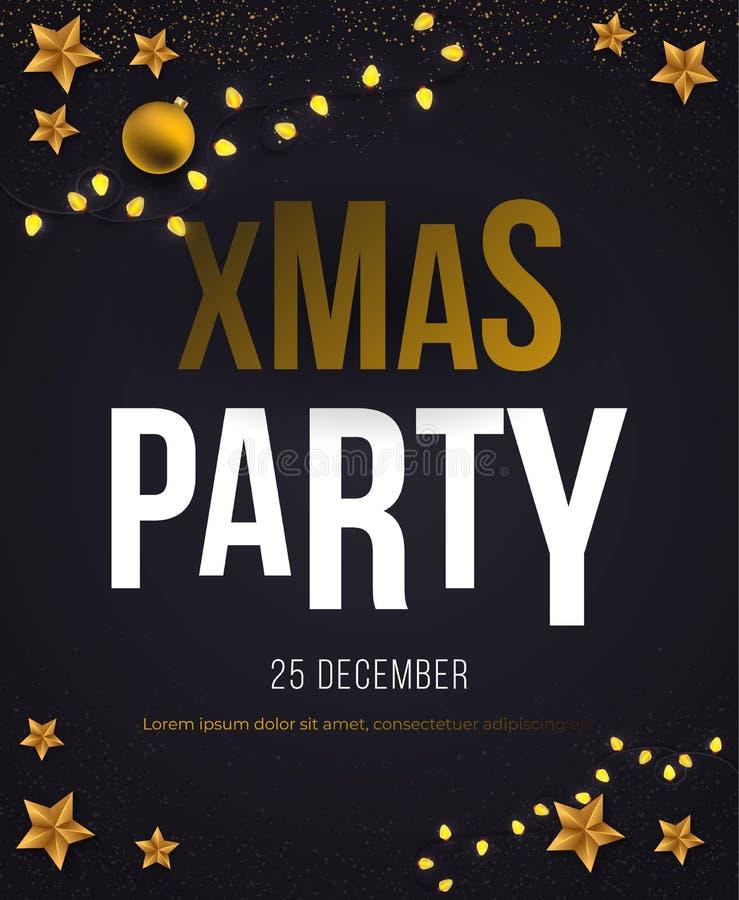 Cartel del vector de la fiesta de Navidad con las estrellas stock de ilustración
