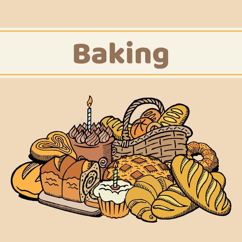 Cartel del vector de la panadería de los pasteles Pan, tortas, galletas, pasteles y anuncio promocional de la repostería y pastel ilustración del vector