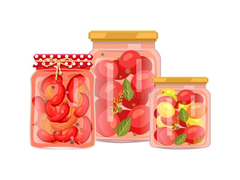Cartel del vector de la protección de las pimientas y de los tomates ilustración del vector