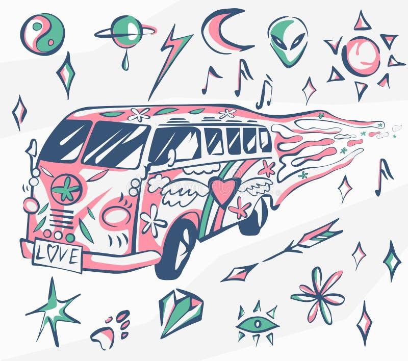 Cartel del vector del autobús del amor Coche del hippie, mini furgoneta con diversos símbolos Colores retros Concepto psicodélico ilustración del vector