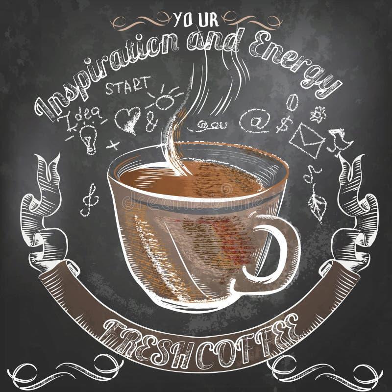 Cartel del vector del café con la taza de café dibujada mano stock de ilustración