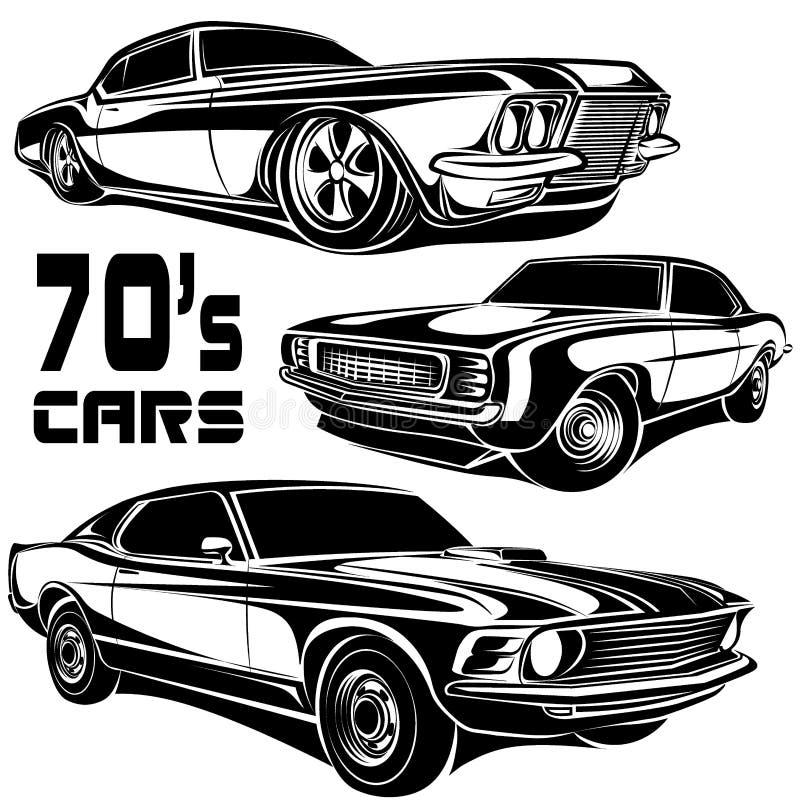 Cartel del vector del coche del músculo stock de ilustración