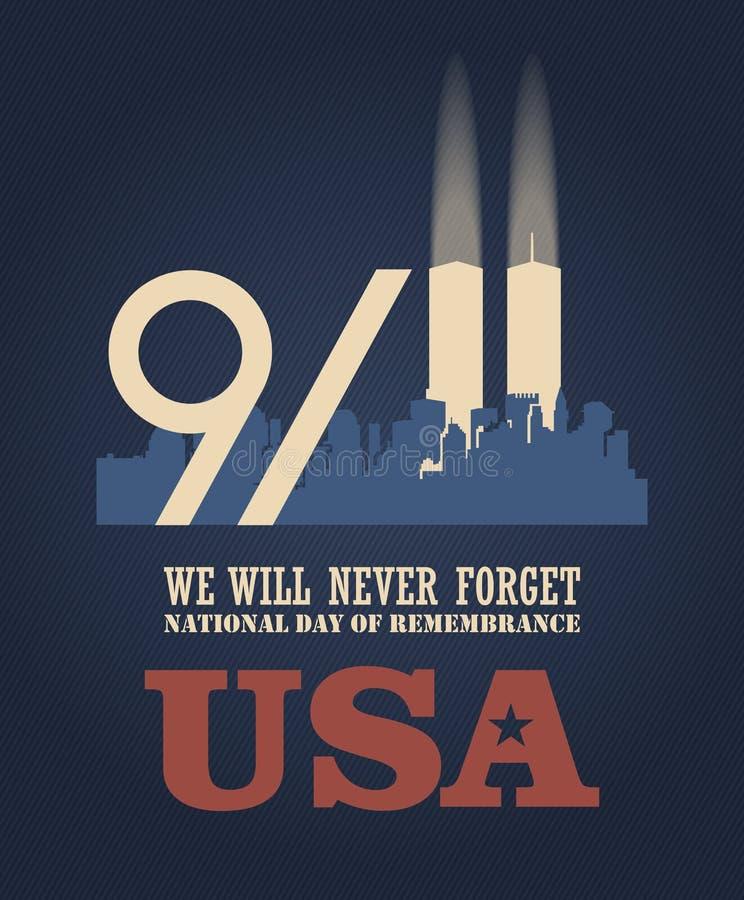 Cartel del vector del día del patriota con el centro comercial del mundo 11 de septiembre 9 / 11 con las torres gemelas stock de ilustración