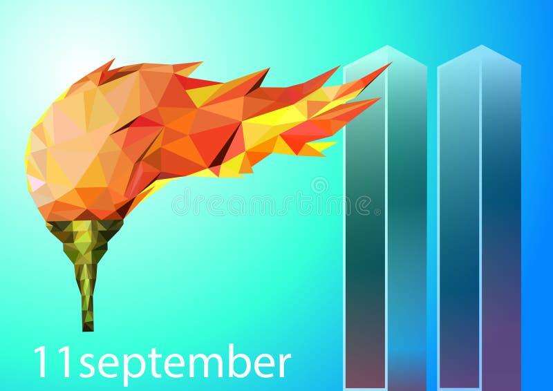 Cartel del vector del día del patriota 11 de septiembre stock de ilustración