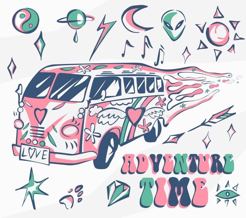 Cartel del vector del tiempo de la aventura Coche del hippie, mini furgoneta con diversos símbolos Colores retros Concepto psicod libre illustration
