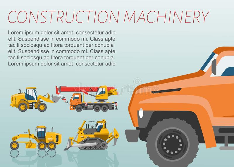 Cartel del vector del material y de la maquinaria de construcción Tractor, camiones grúa y sistema de la niveladora de edificio y ilustración del vector