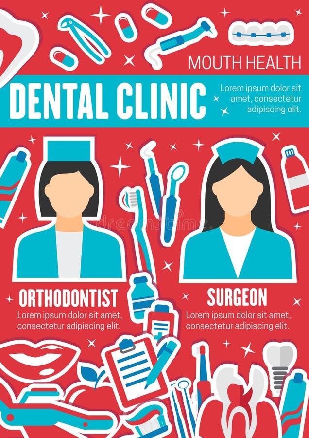 Cartel del vector para la clínica de salud dental stock de ilustración