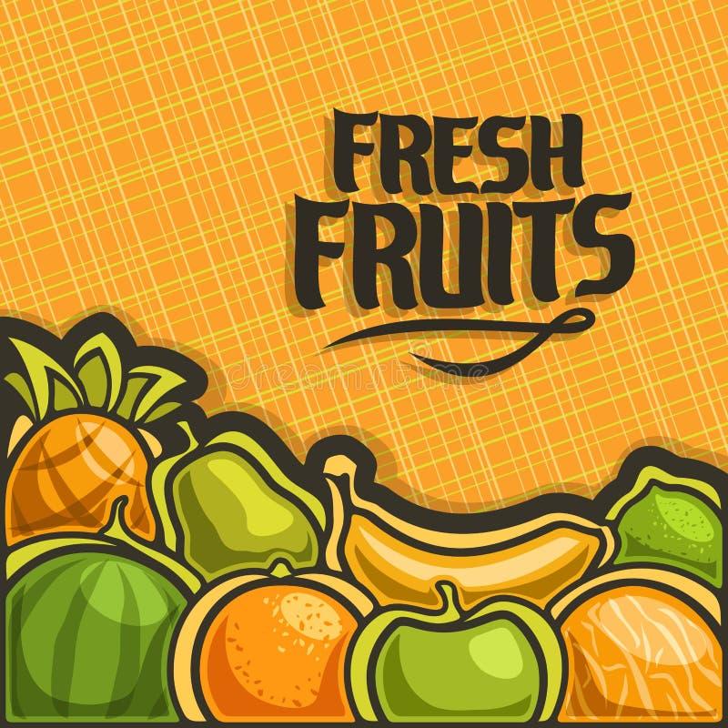 Cartel del vector para las frutas frescas del sistema ilustración del vector