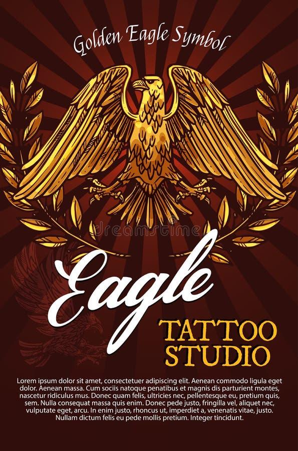 Cartel del vector del símbolo de la mascota o de la heráldica del pájaro de Eagle libre illustration