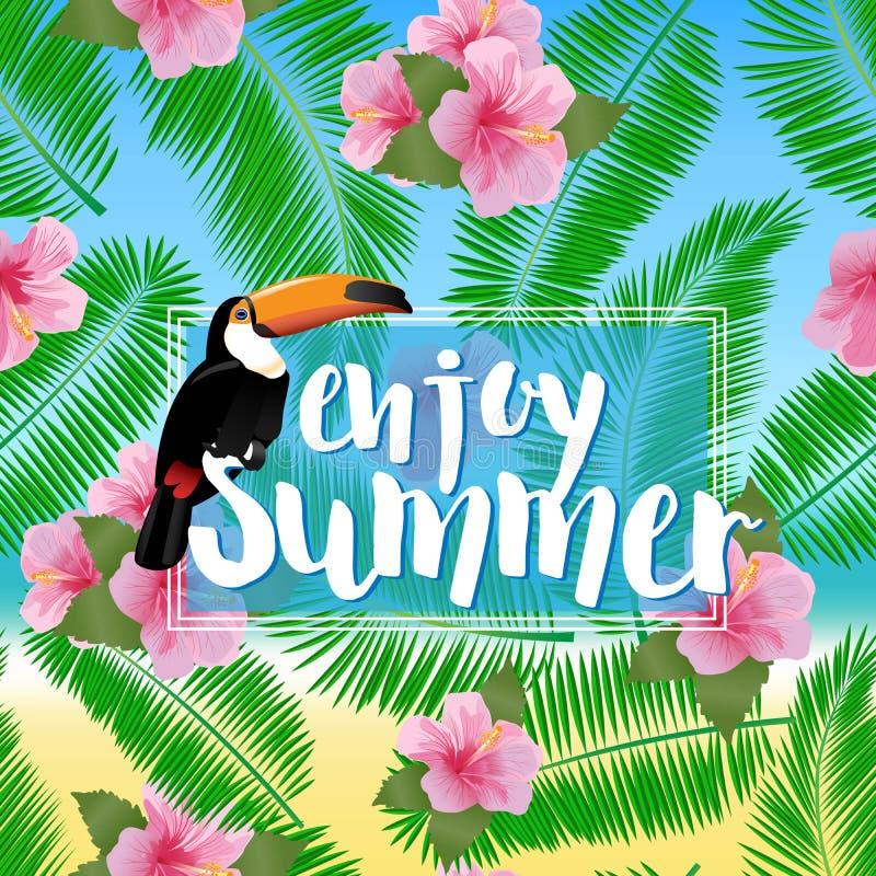Cartel del verano con las hojas de palma, costa, el hibisco de la flor y el tucán stock de ilustración