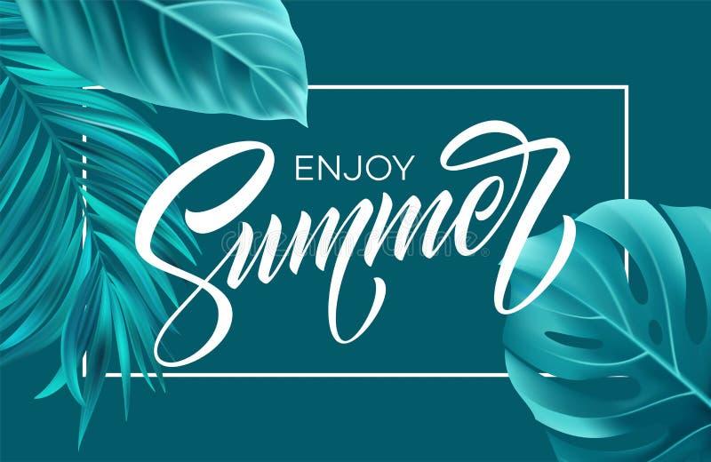 Cartel del verano con las letras tropicales de la hoja de palma y de la escritura Ilustración del vector stock de ilustración