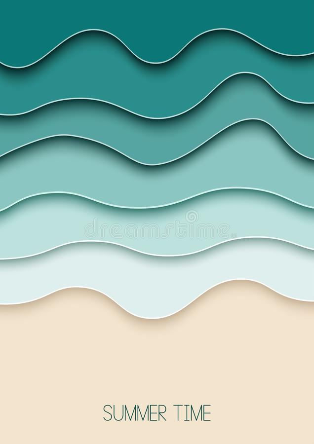 Cartel del verano Corte del papel A4, diseño para cualquier propósitos El mar agita el fondo capas del papel 3d Disposición del v ilustración del vector