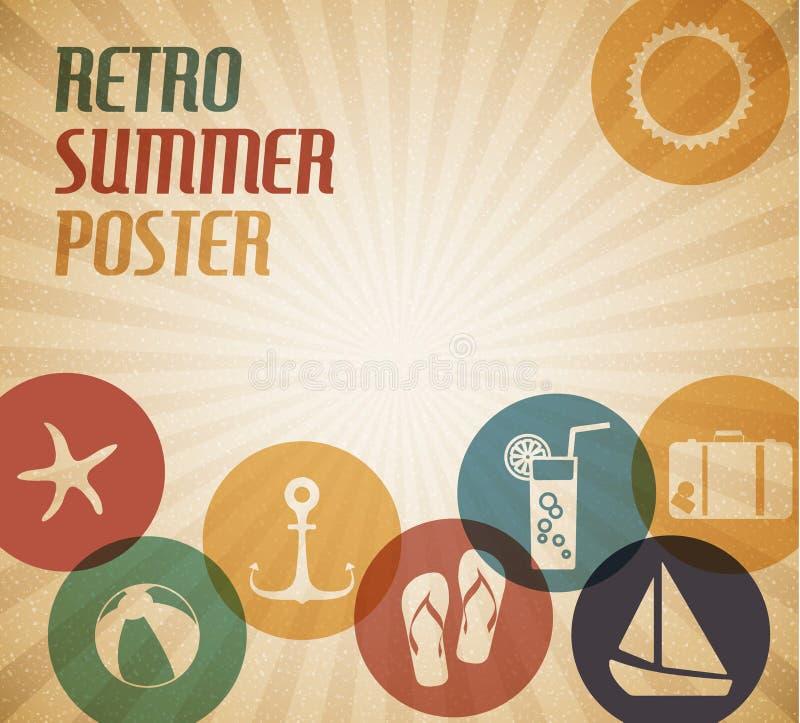 Cartel del verano del vector ilustración del vector