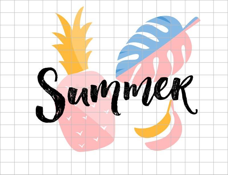 Cartel del verano Palabra de la caligrafía con la piña, la hoja del monstera y los ejemplos del plátano ilustración del vector
