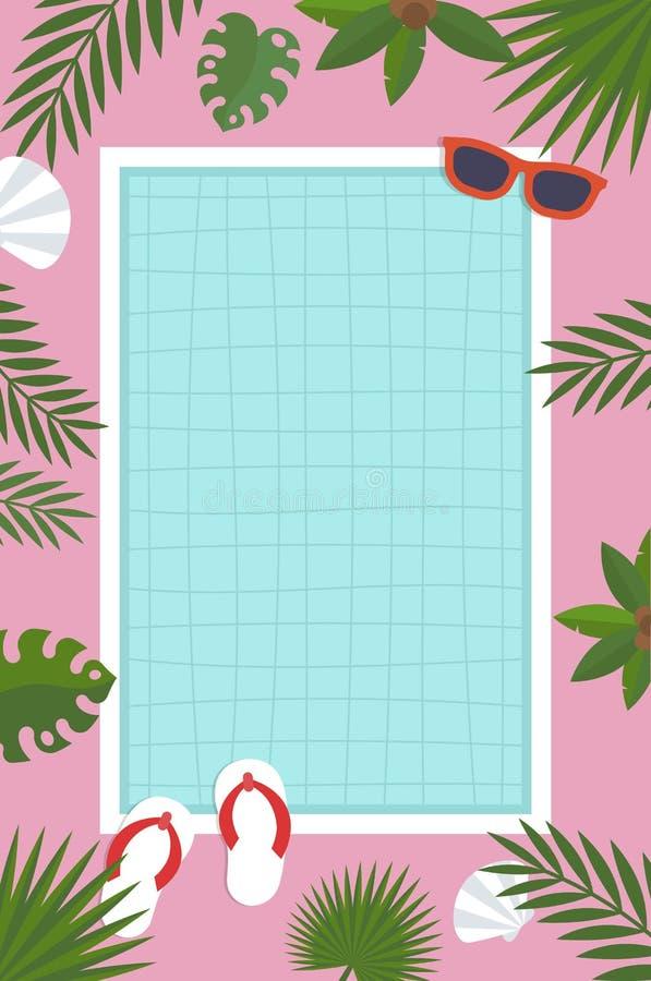 Cartel del verano, piscina con la hoja de palma ilustración del vector