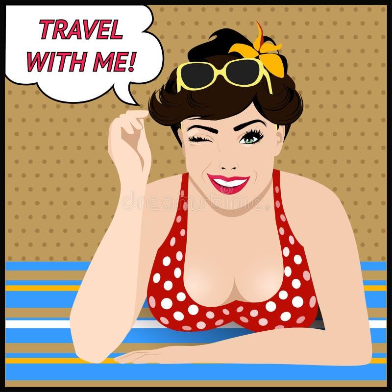 Cartel del viaje con el arte pop que guiña a la mujer ilustración del vector