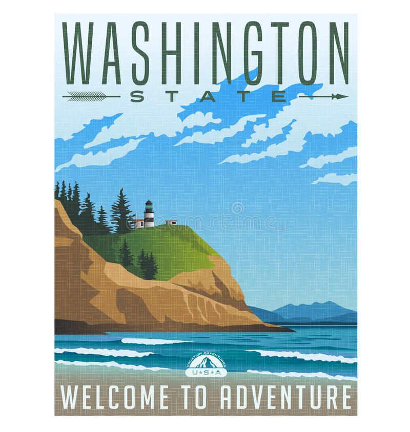 Cartel del viaje de Washington State de la línea de la playa y del faro rugosos libre illustration