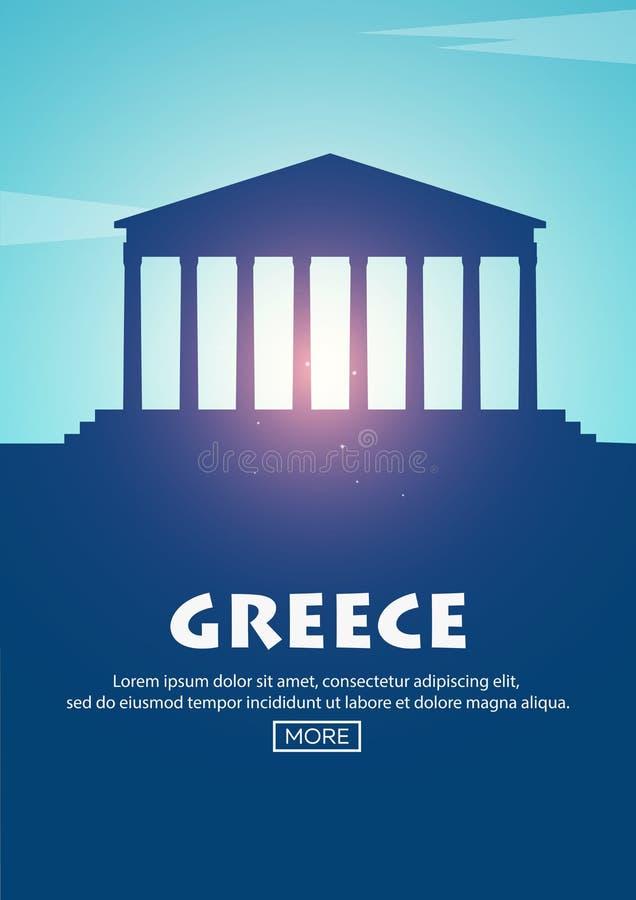 Cartel del viaje a Grecia Siluetas de las señales Ilustración del vector ilustración del vector