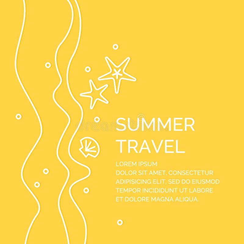 Cartel del viaje del verano en un estilo linear Ejemplo en un fondo amarillo stock de ilustración