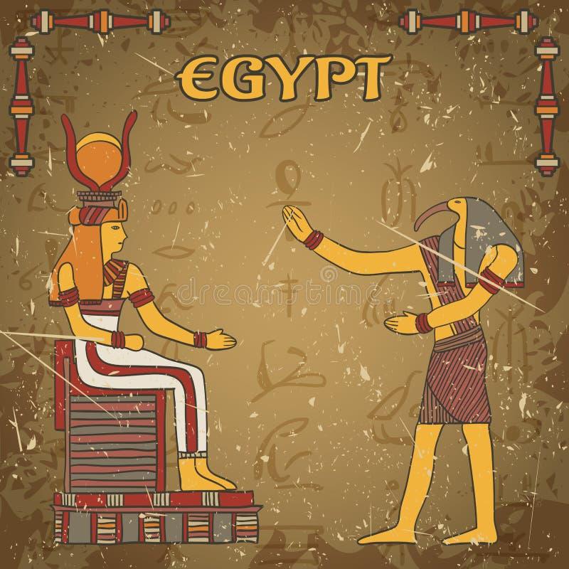 Cartel del vintage con dios egipcio y faraón en el fondo del grunge con las siluetas de los jeroglíficos egipcios antiguos libre illustration