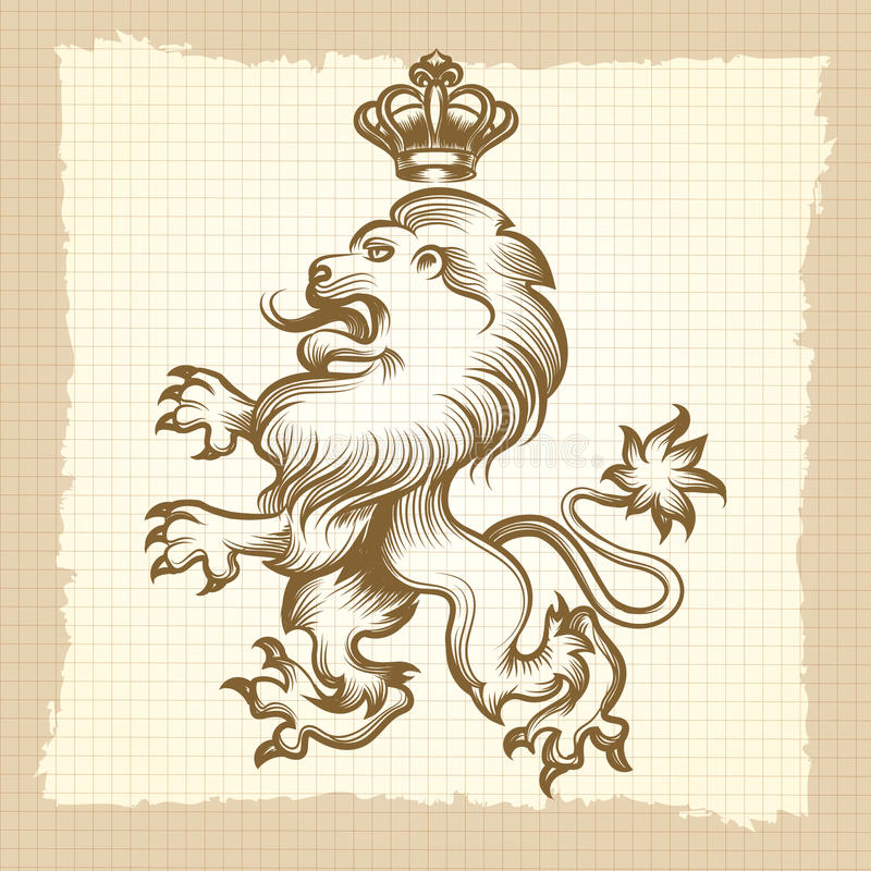 Cartel del vintage con diseño del león del grabado libre illustration