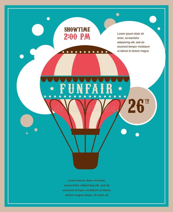 Cartel del vintage con el balón de aire del vintage, feria de diversión stock de ilustración