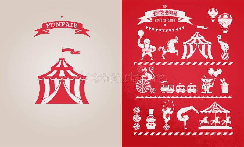 Cartel del vintage con el carnaval, feria de diversión, circo stock de ilustración