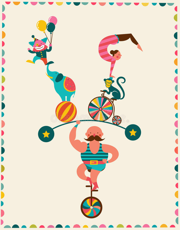 Cartel del vintage con el carnaval, feria de diversión, circo libre illustration