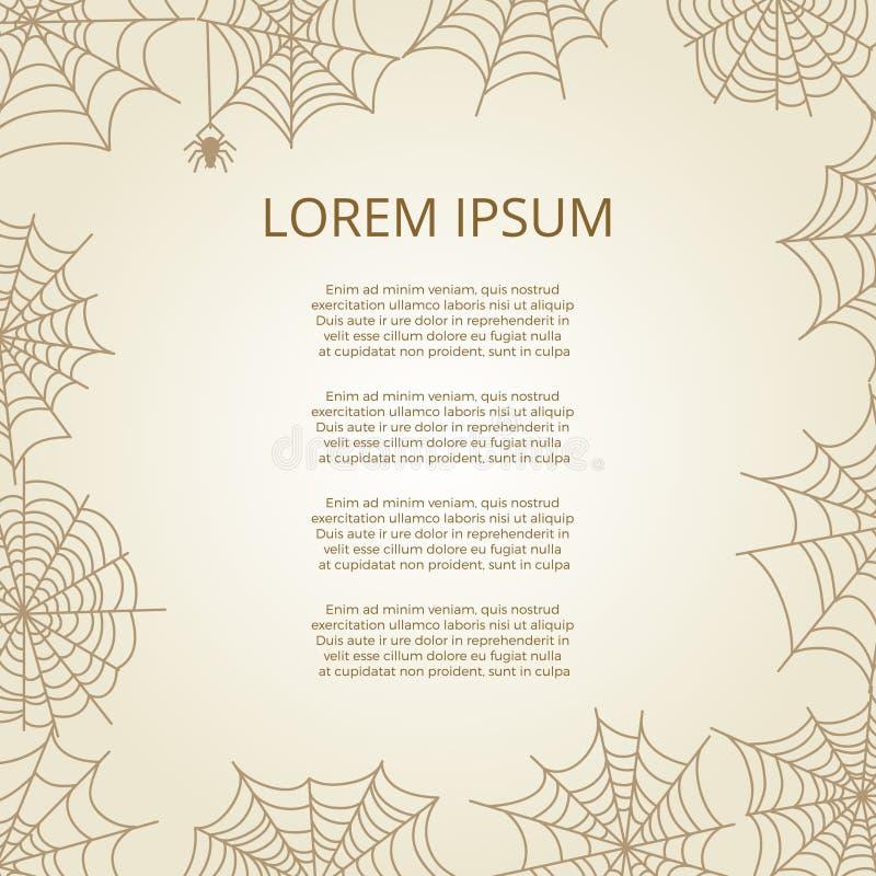 Cartel del vintage con el marco de la araña y de la telaraña libre illustration