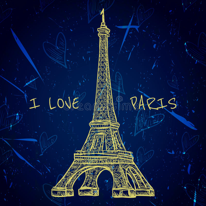Cartel del vintage con la torre Eiffel en el fondo del grunge Ejemplo retro en estilo del bosquejo 'amo París' stock de ilustración