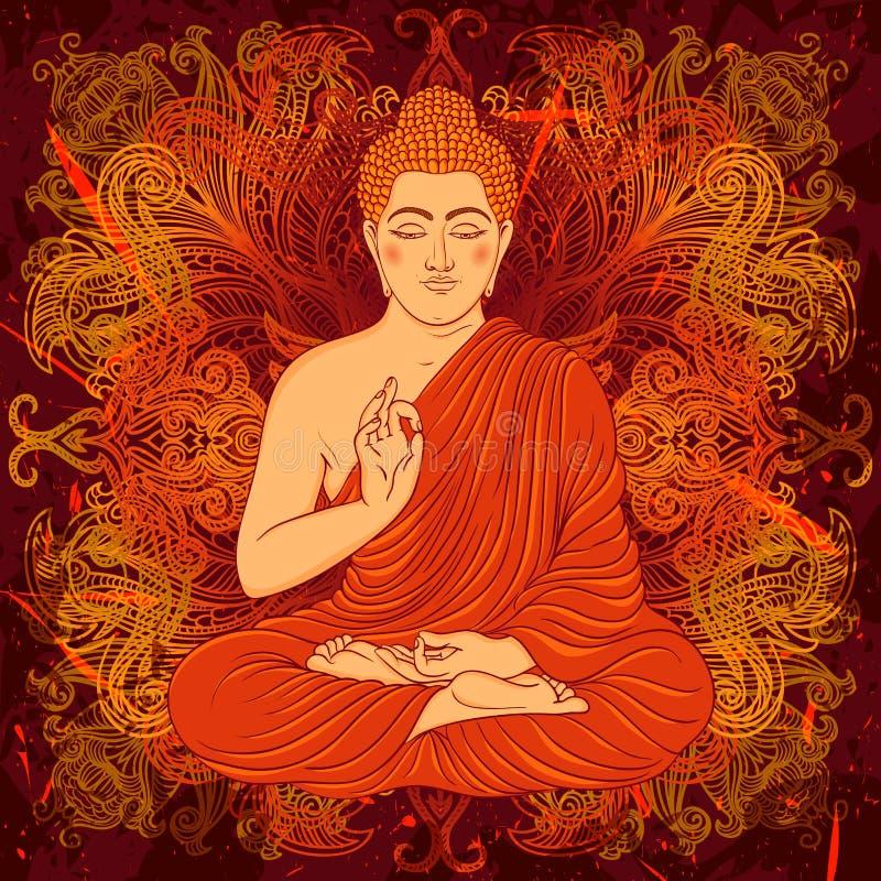 Cartel del vintage con sentar a Buda en el fondo del grunge sobre modelo redondo de la mandala adornada stock de ilustración