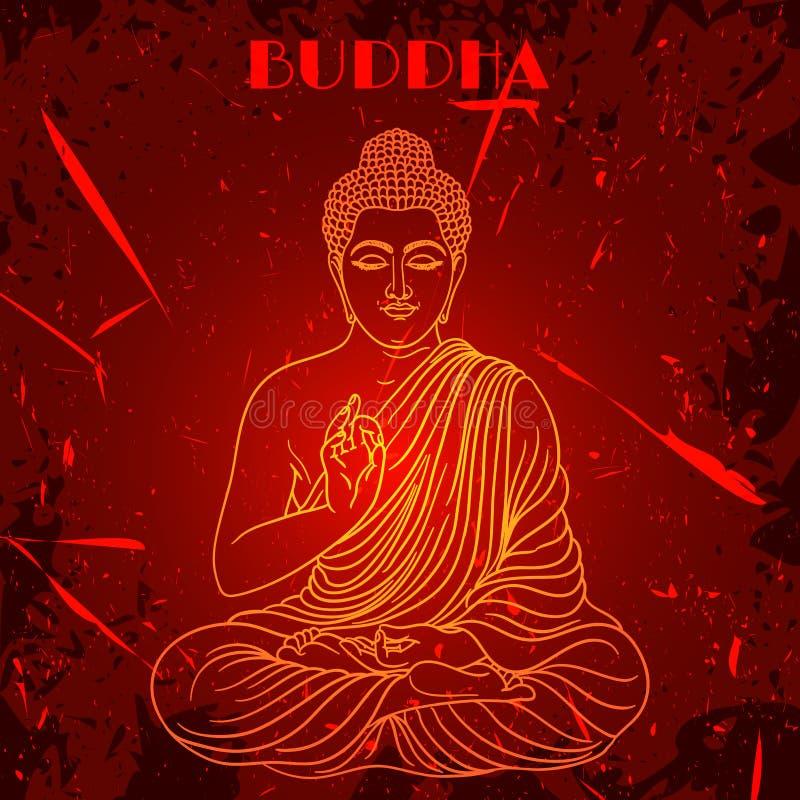 Cartel del vintage con sentar a Buda en el fondo del grunge sobre modelo redondo de la mandala adornada libre illustration